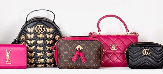 Handbags organized in color