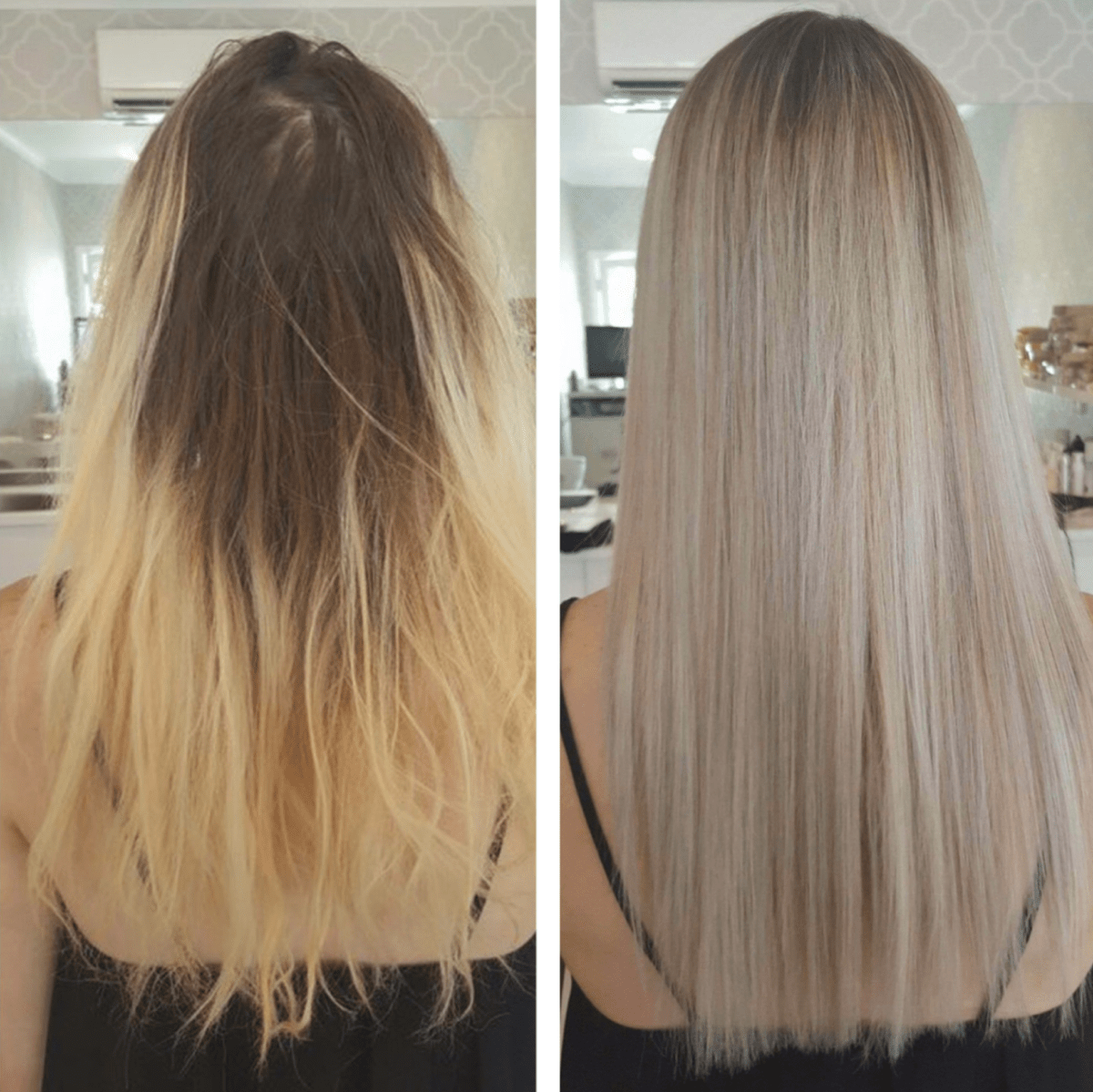 Before and after Balayage – Hair by stylist Sharni.