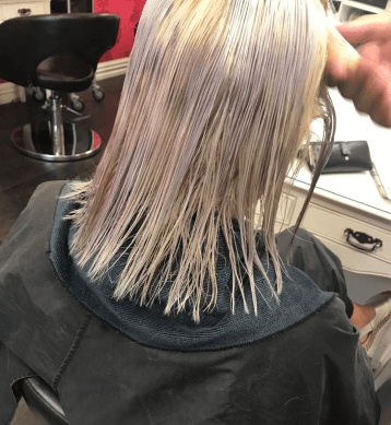 Violet infused Keratin treatment for blonde hair