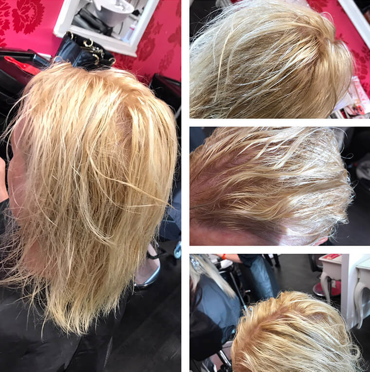 Clients hair lightened and dried off before toner applied.