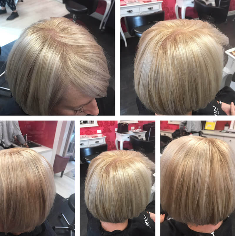 Same client with cool champagne toner, hair is shiny and beautiful.