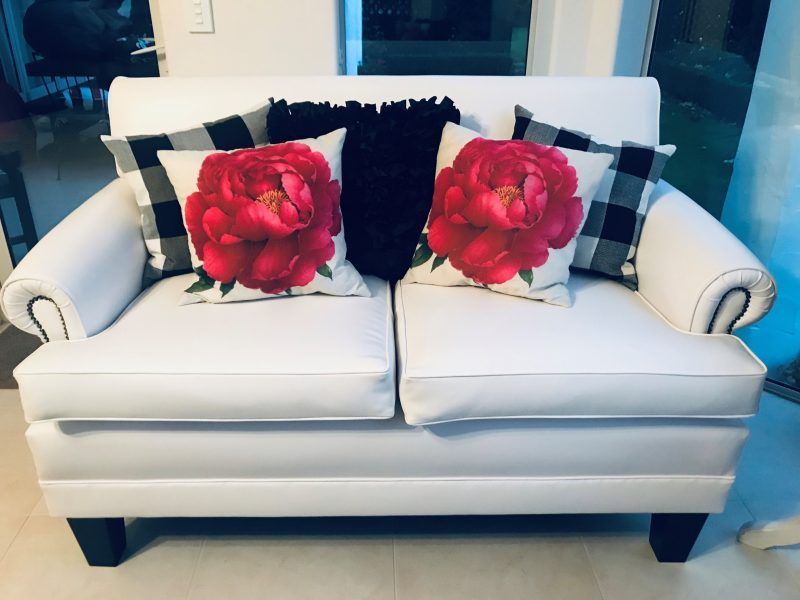 Re-upholstered couches at Vicki's - cushions eBay