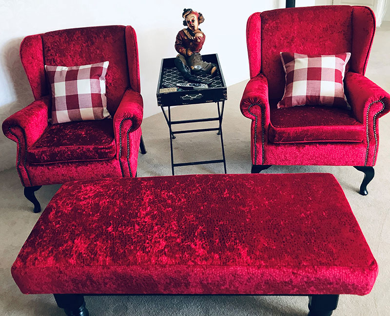 Re-upholstered chairs, coffee table at Vicki's