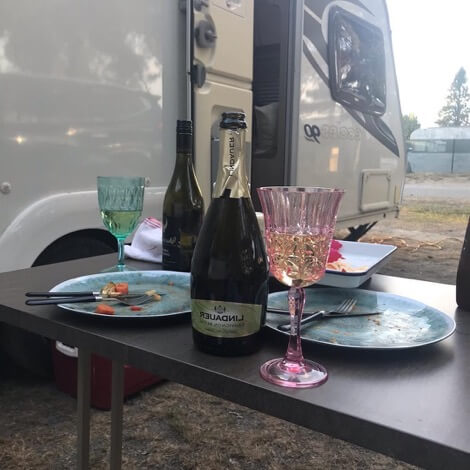 Lunch by the caravan