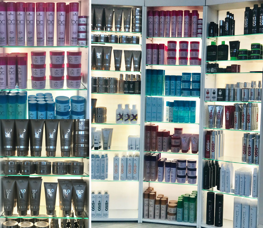 product on shelves at V for Hair and Beauty, Merivale