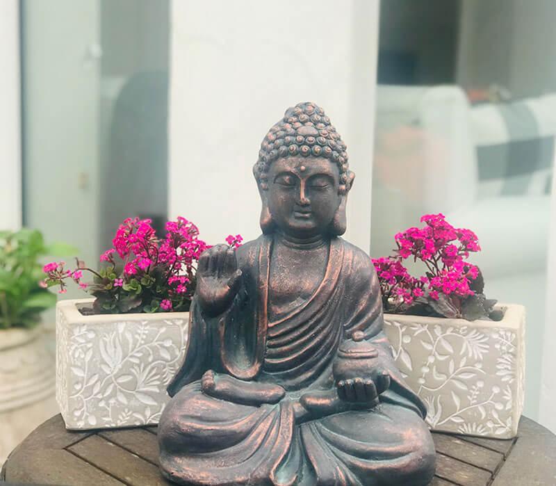 Copper Buddha at Vicki home
