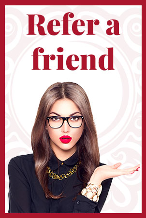 refer a friend text with a photo of a women with glasses below it