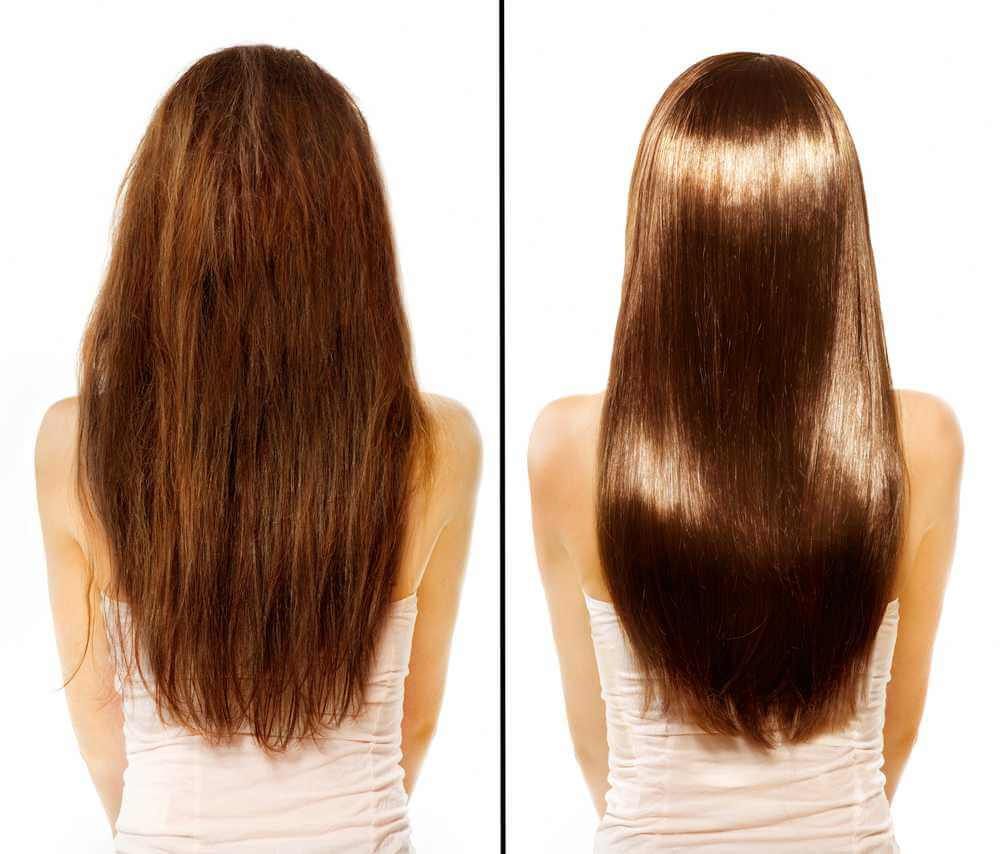 before and after keratin treatment of a girl with long brown hair