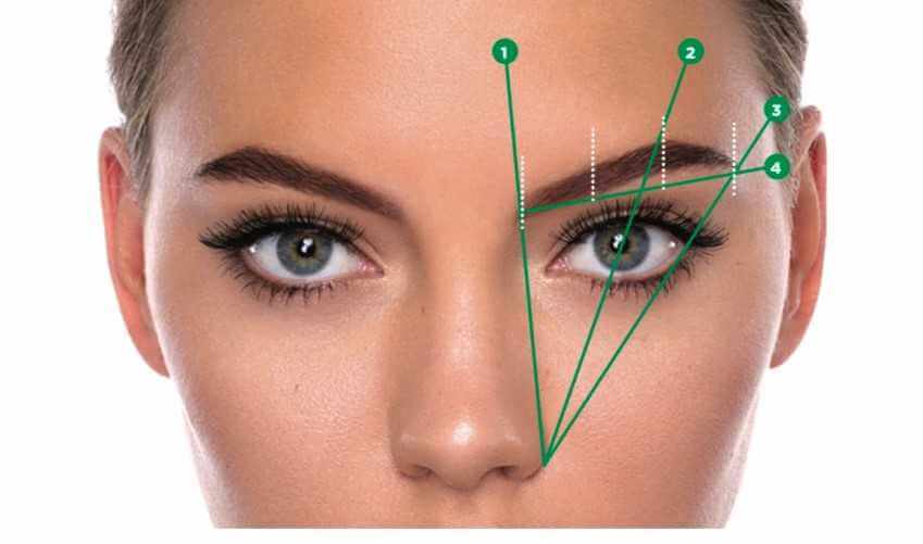 a 3 point guide o0n a women's face on how to shape an eyebrow arch