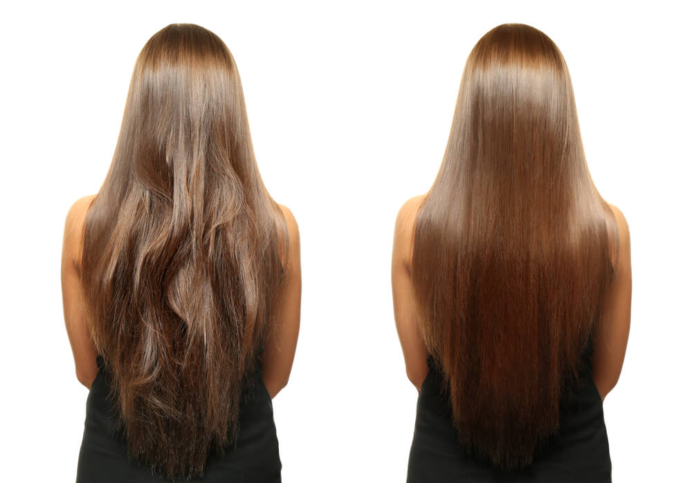 before and after image of a girl with long brown hair getting a keratin treatment