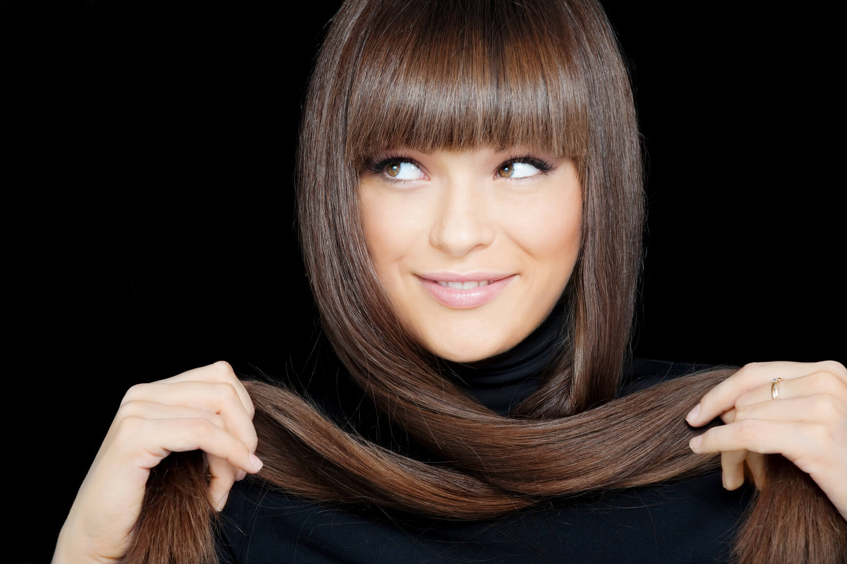 lady with straight brown hair