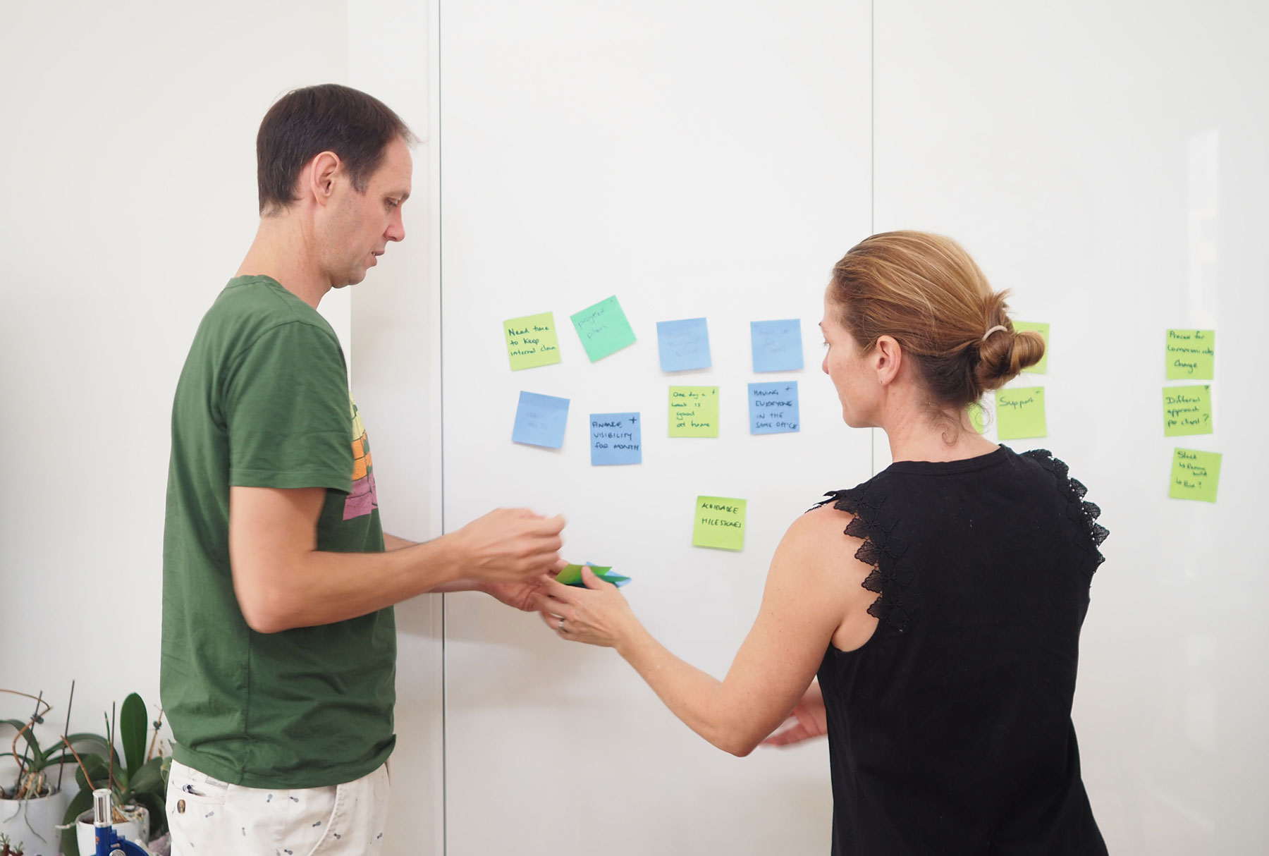 Two people working together on a post-it board