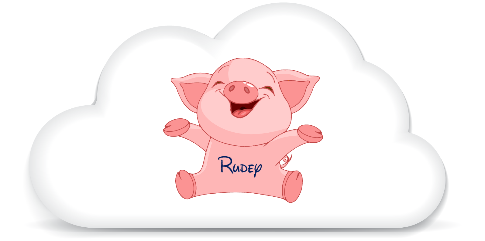 Cloud Icon with Rudey the pig in the center.