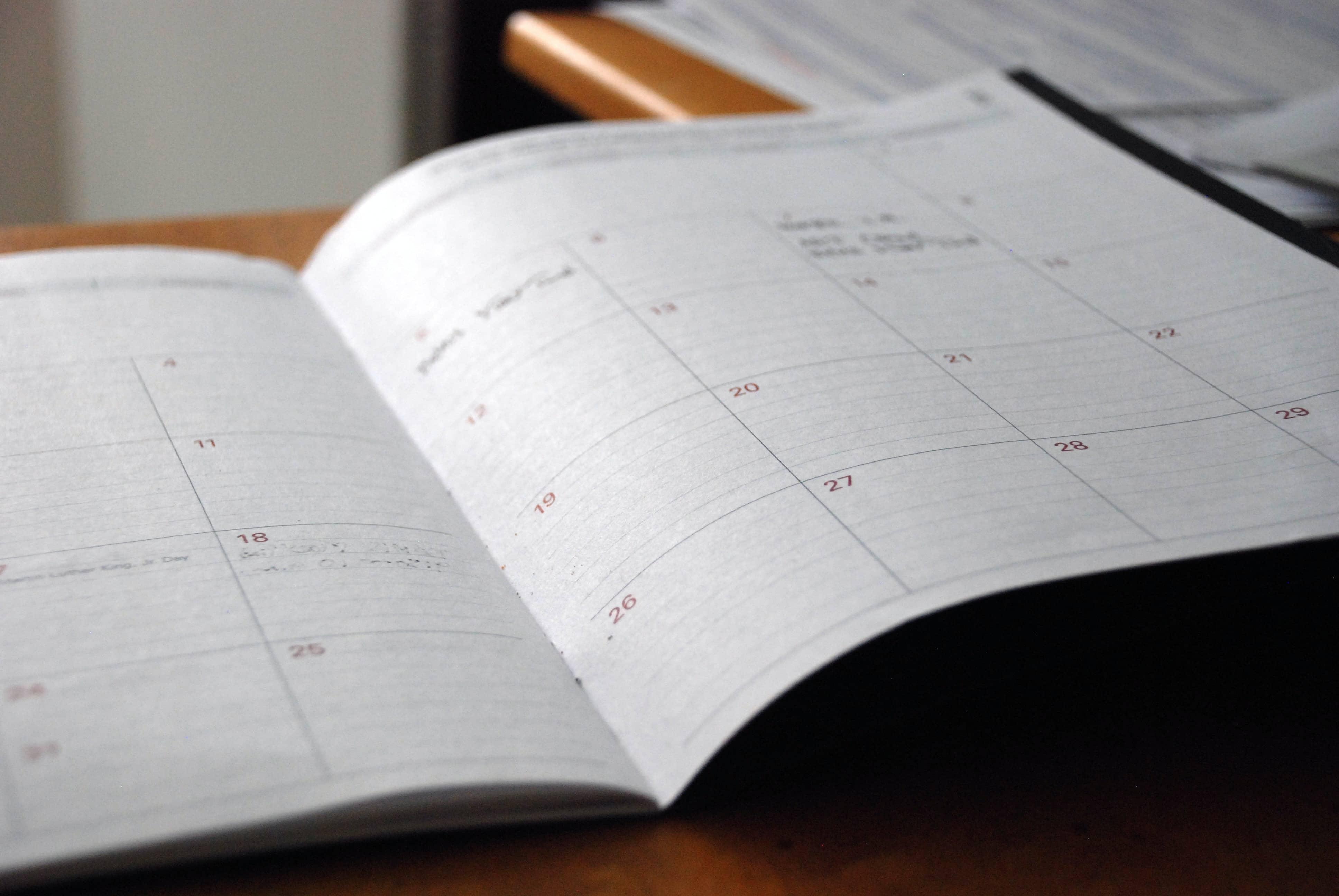 calendar on table