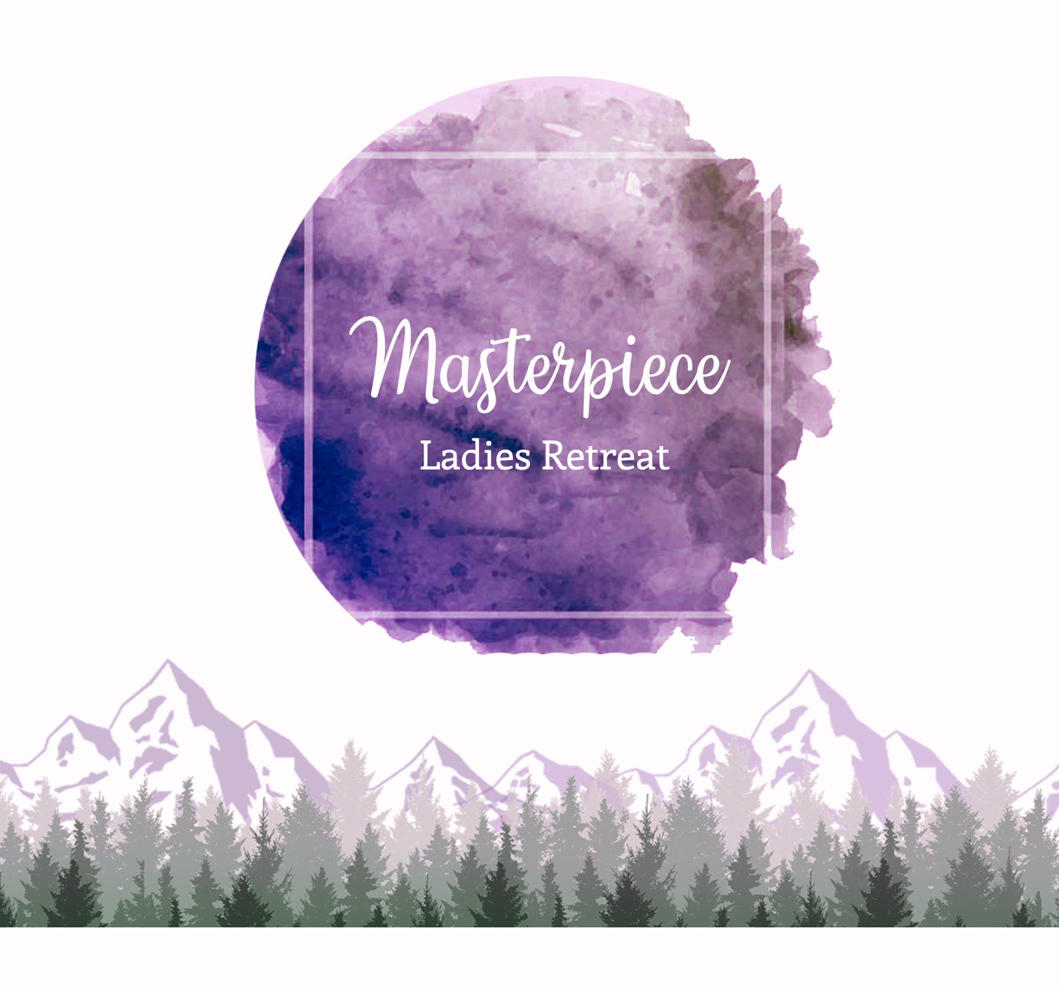 Purple circle graphic with mountain theme backdrop