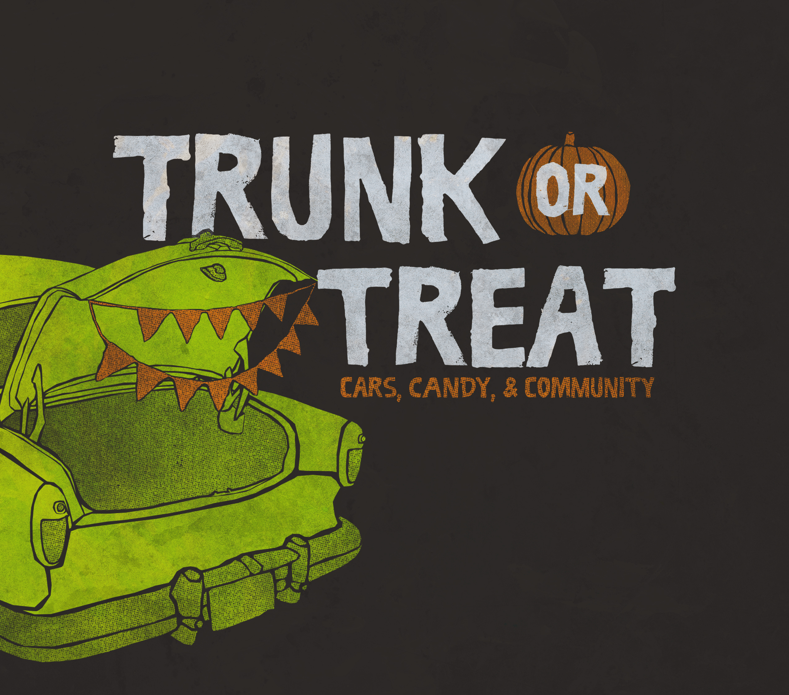Green trunk with pumpkin and text on brown background