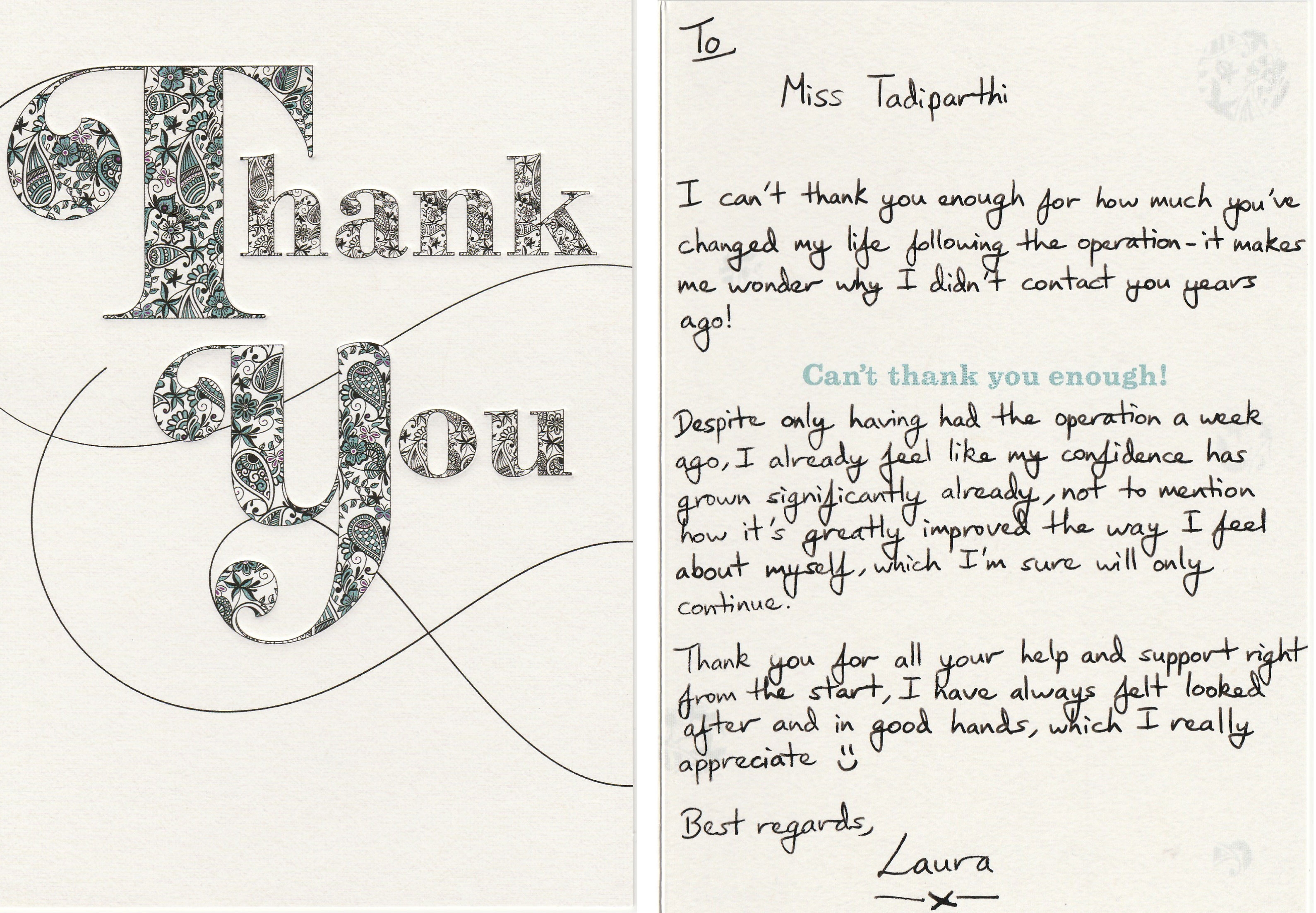Lovely Thank-You Card From A Delighted Patient