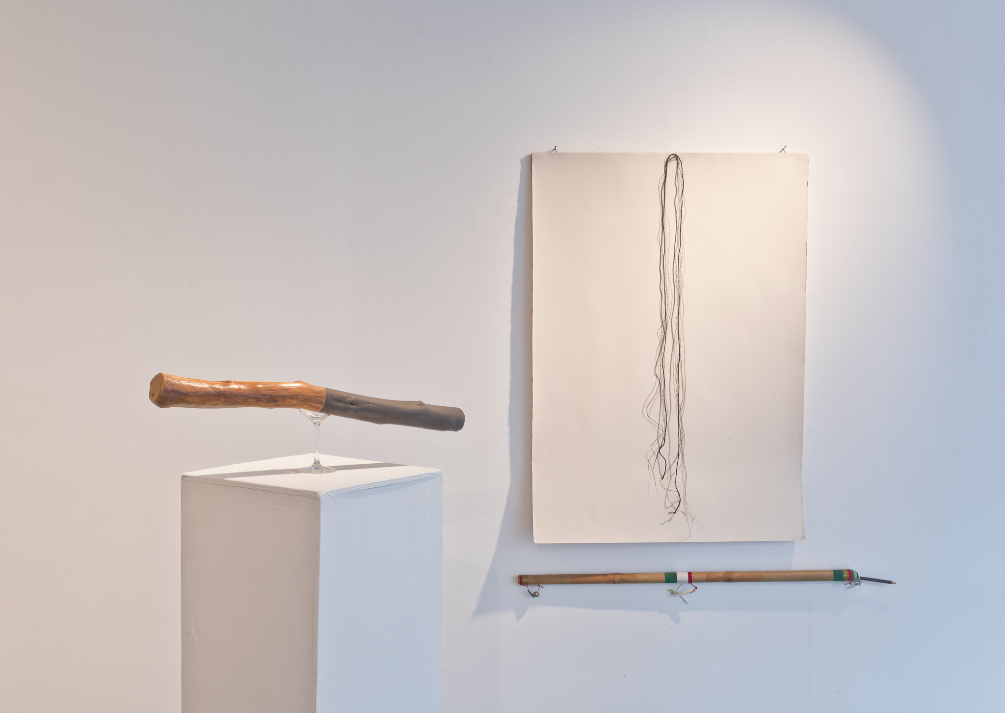 Therry Rudin, The Promise, 2020 - wood, pigment, glass - 17x64x8 - POA/ Therry Rudin, The Tracing, 2020 - Charcoal on watercolour paper, wood & mixed media - 112x89cm - POA