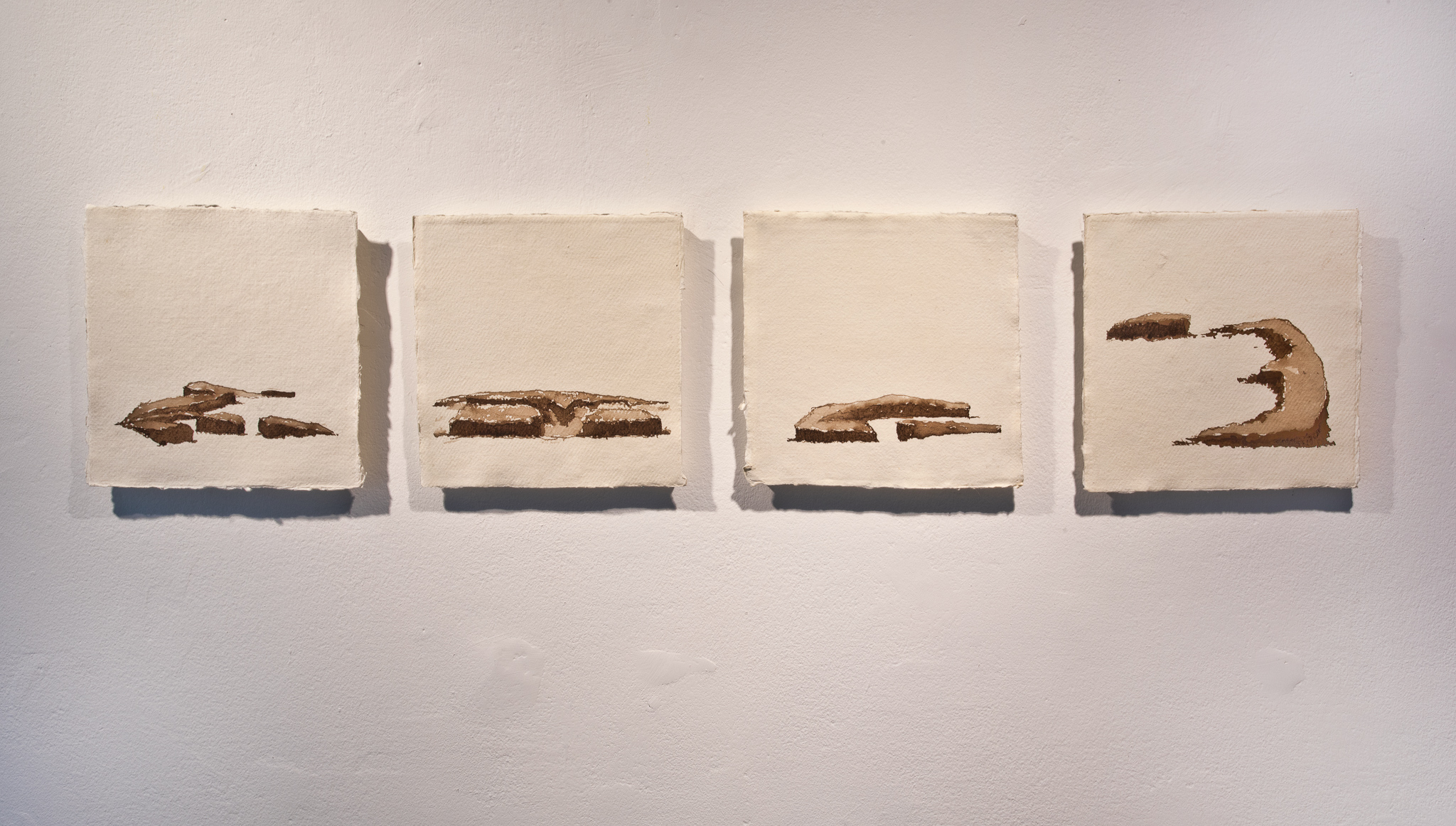 Maria Levinge, Bog cuttings 1-4, 2020 - oak gall on paper on board, 21.5x20cm - €300