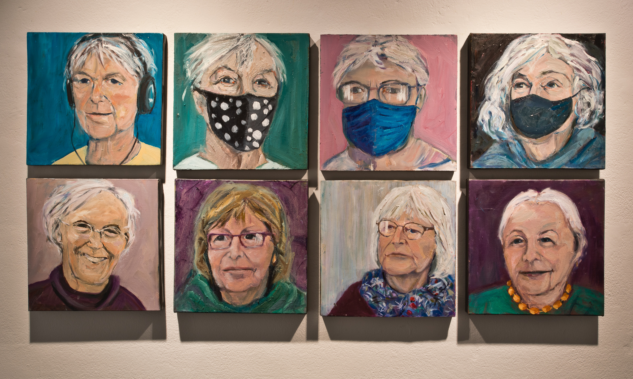 Patricia Hurl, The Gallery of the Missing Artists, 2020 -2021, 8 panels, oil on board, 30x30cm - NFS