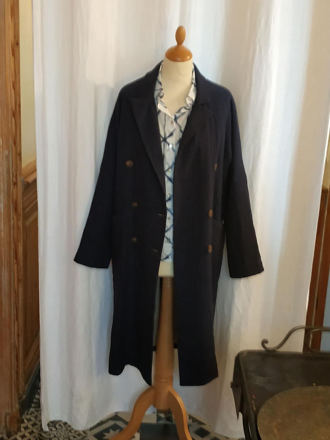 Manteau coton et lin bleu marine