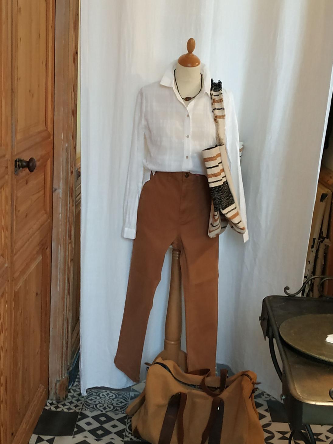 Pantalon coton chino camel