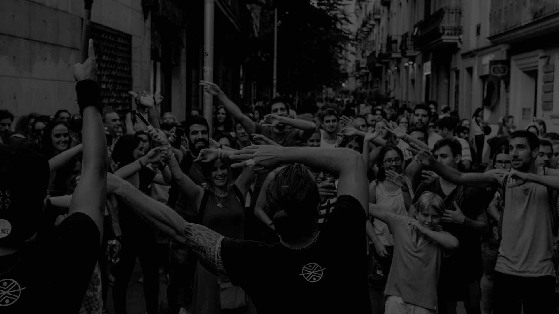 Público en las calles de Barcelona