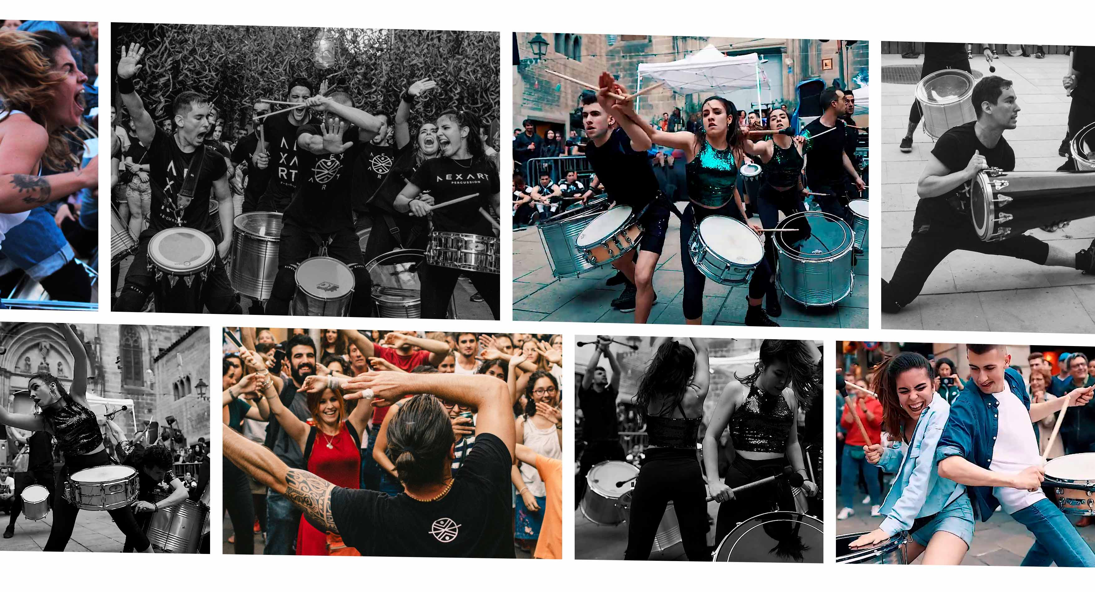 Collage de fotos de Nexart Percussion actuando en la calle