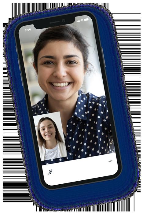 Video visit phone mockup