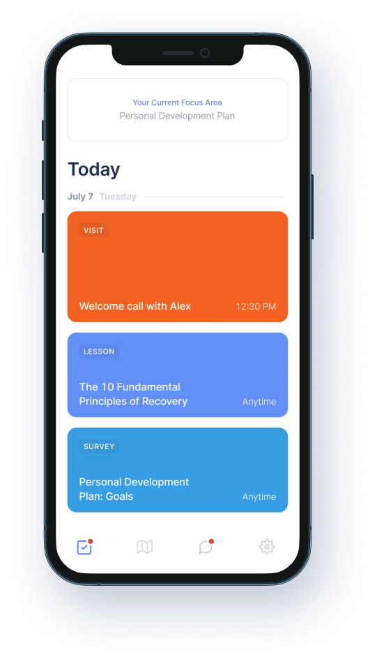 Phone mockup showing a member's daily care plan journey including lesson plans, surveys, and video visits.