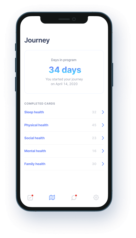 Phone mockup showing a member's journey page including days in the program and their completed tasks.
