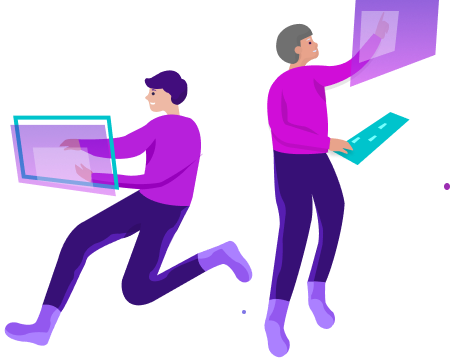 Illustration of people working on computers