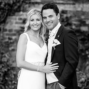 Lovely bride and groom in black and white