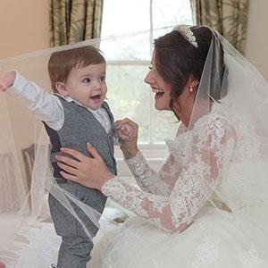 page boy under the wedding veil