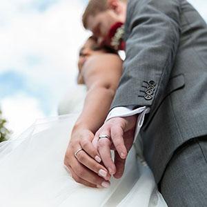 low angle shot of wedding rings