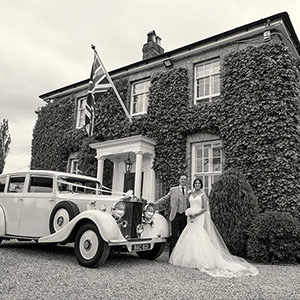 bride and groom outside Friern manor