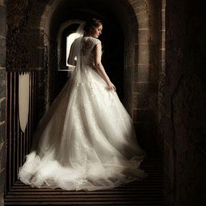 bride in mistral gallery at hedingham castle