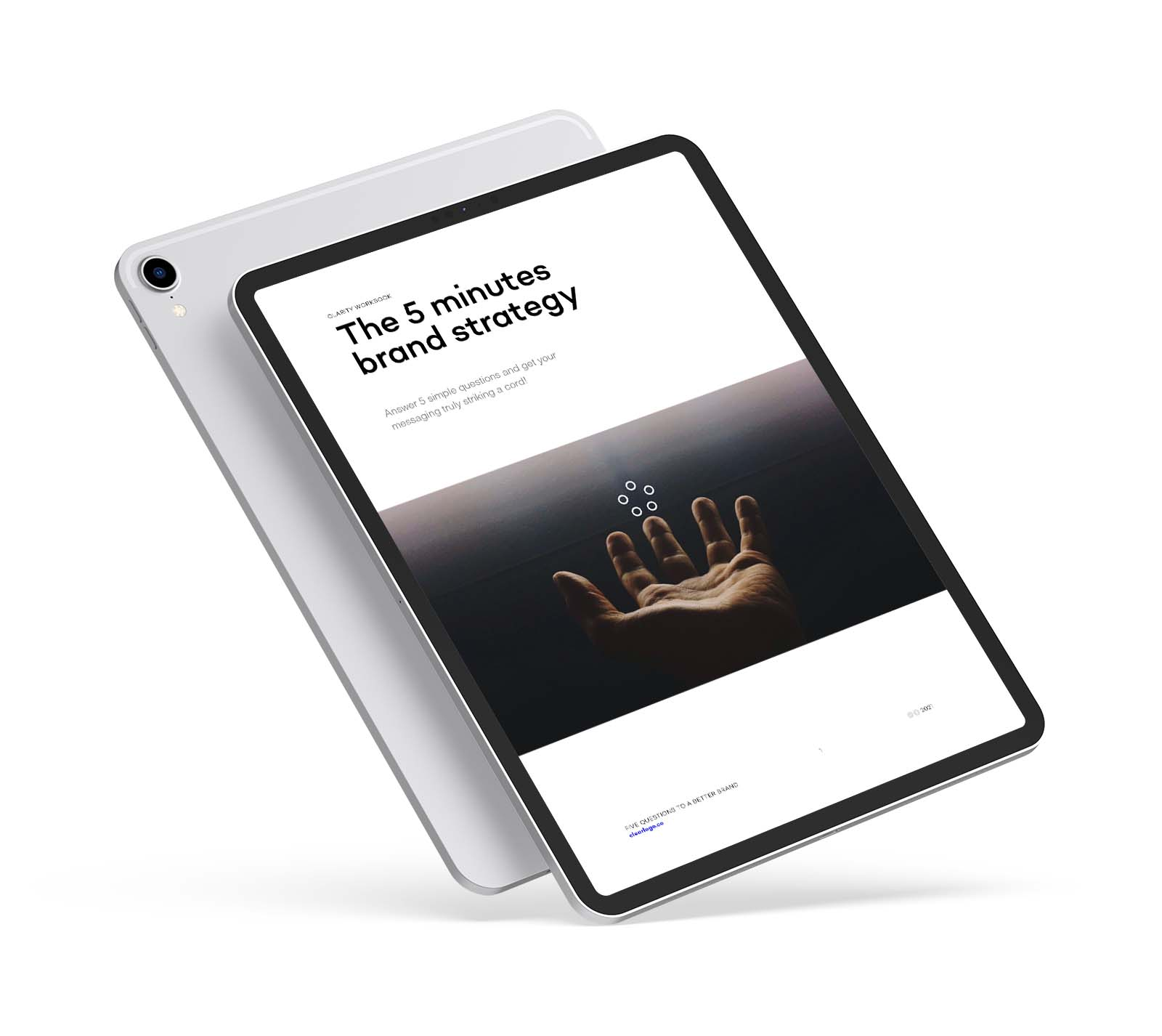 iPad displaying the cover of the 5 minute Strategy workbook
