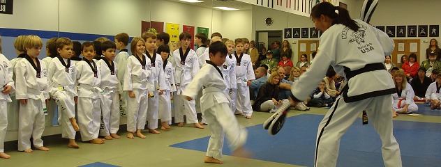 Students participating in a tae kwon do class at Martial Arts USA.