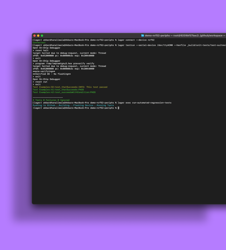 a screenshot of a computer terminal being used for testing