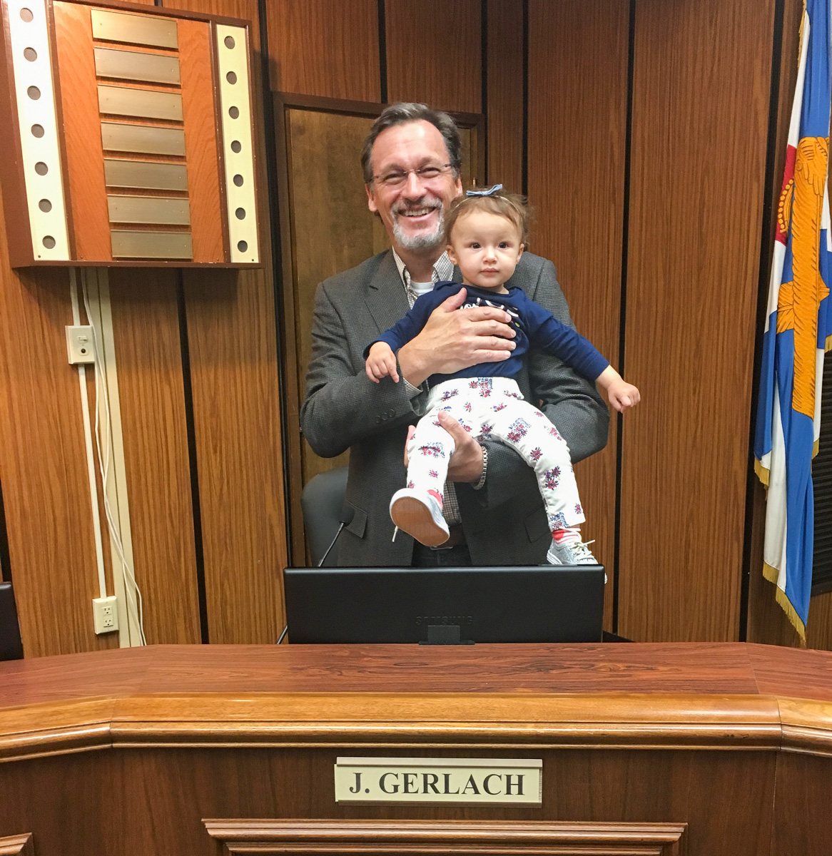 Jon Gerlach with Grand Daughter Samarah at Architectural Review Board in Fredericksburg VA