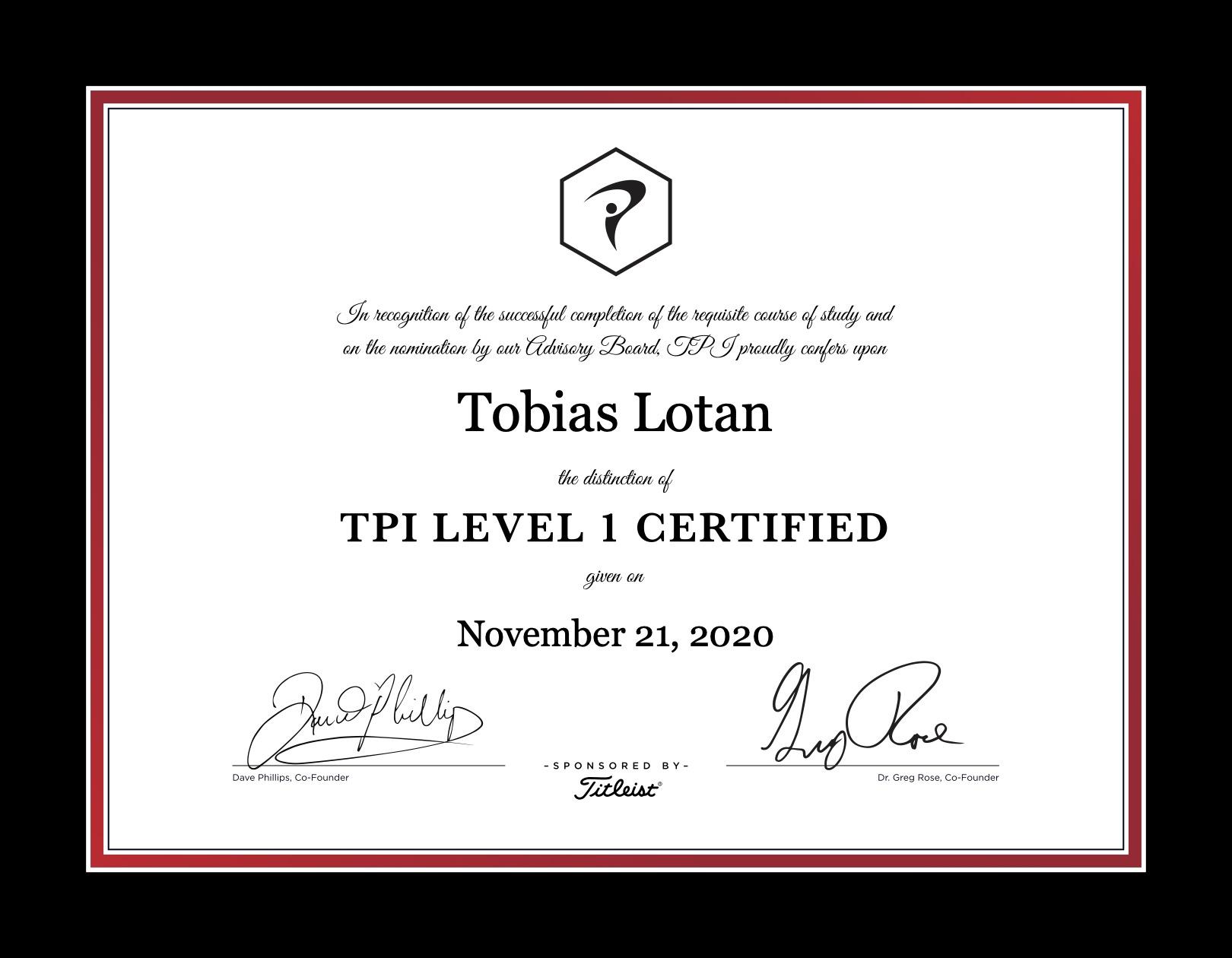 Certificate for titelist performance institute.