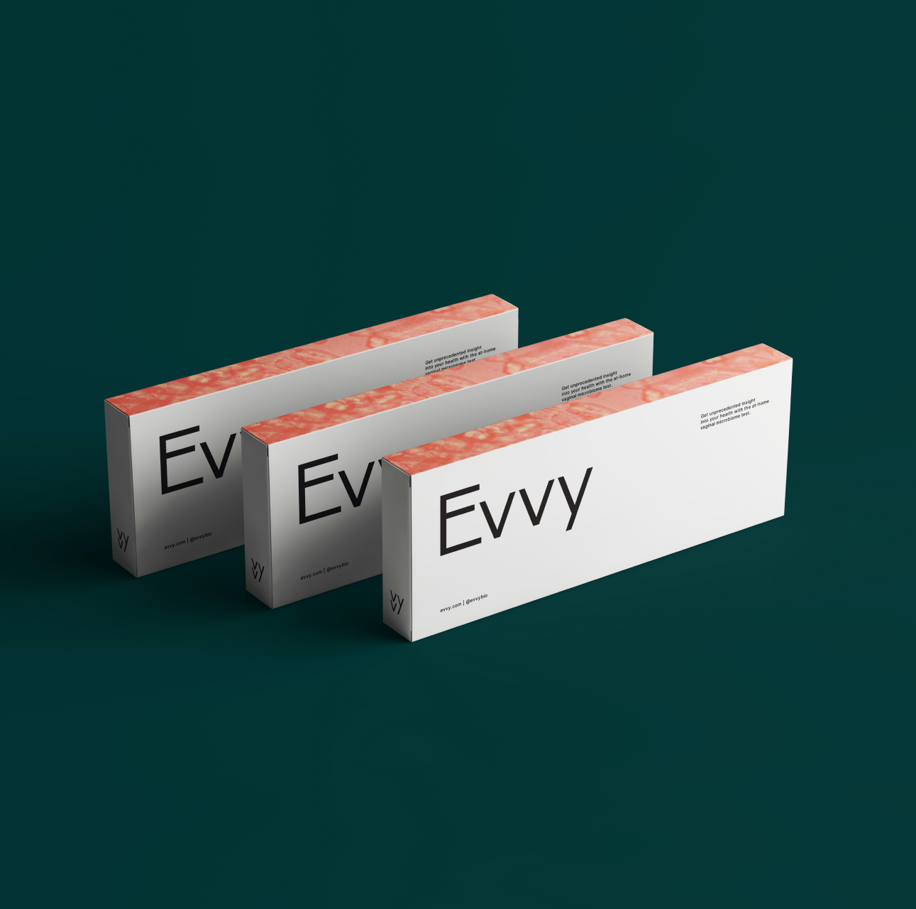 Three Evvy product boxes, housing the Evvy Vaginal Health Check