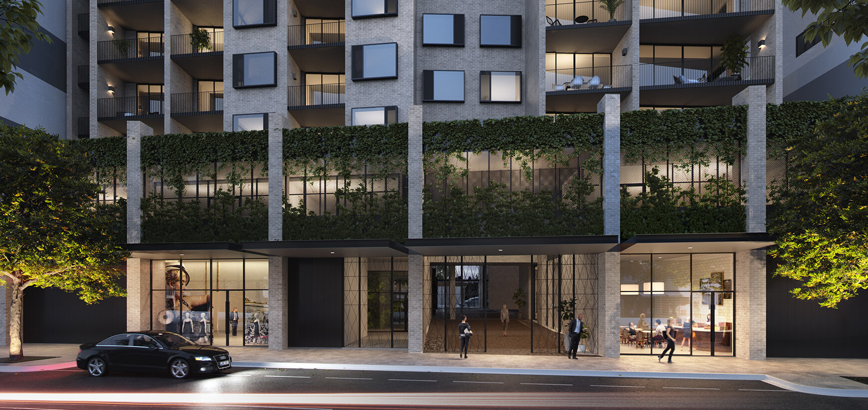 Ground level external CGI of Whitton Lane showing the retail and cafe spaces