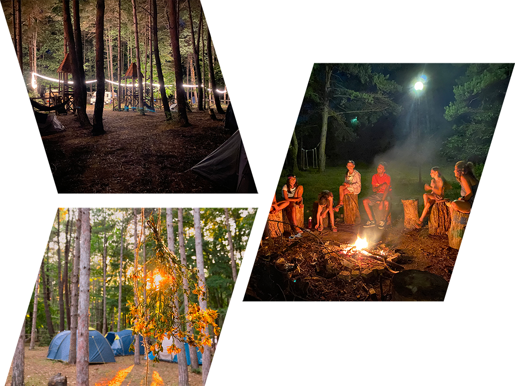 group of images from the campsite