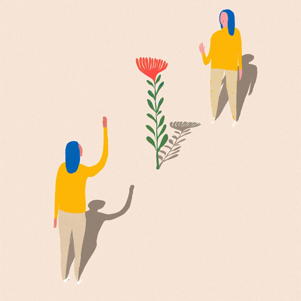 An illustration of two people waving to each other.