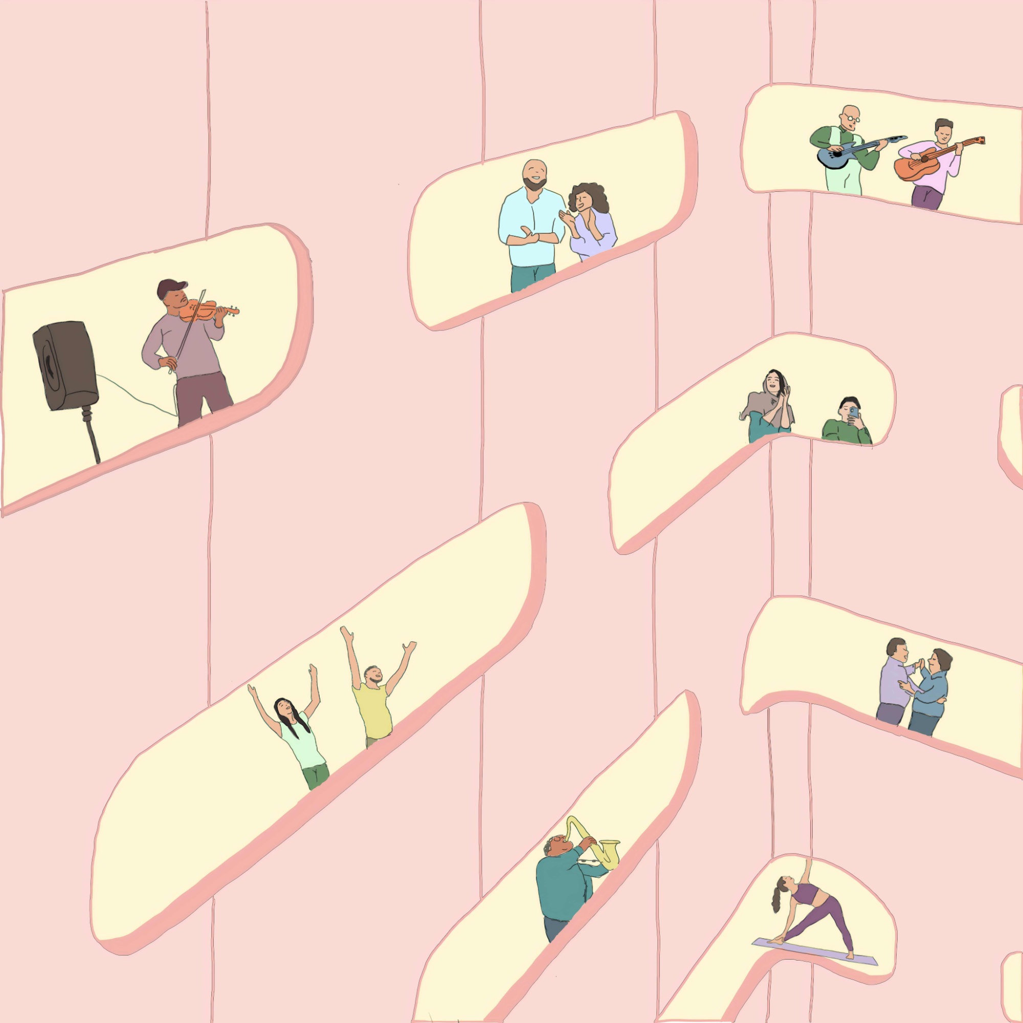 An illustration of people in the windows of a light pink building.