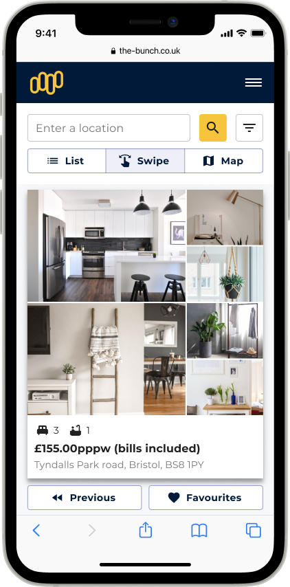 An iphone showing a property with images