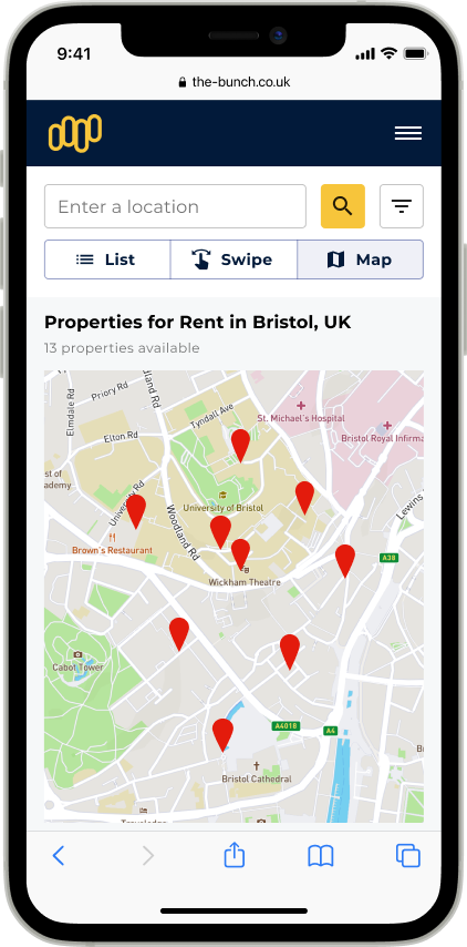 An iphone showing a map with pinned properties
