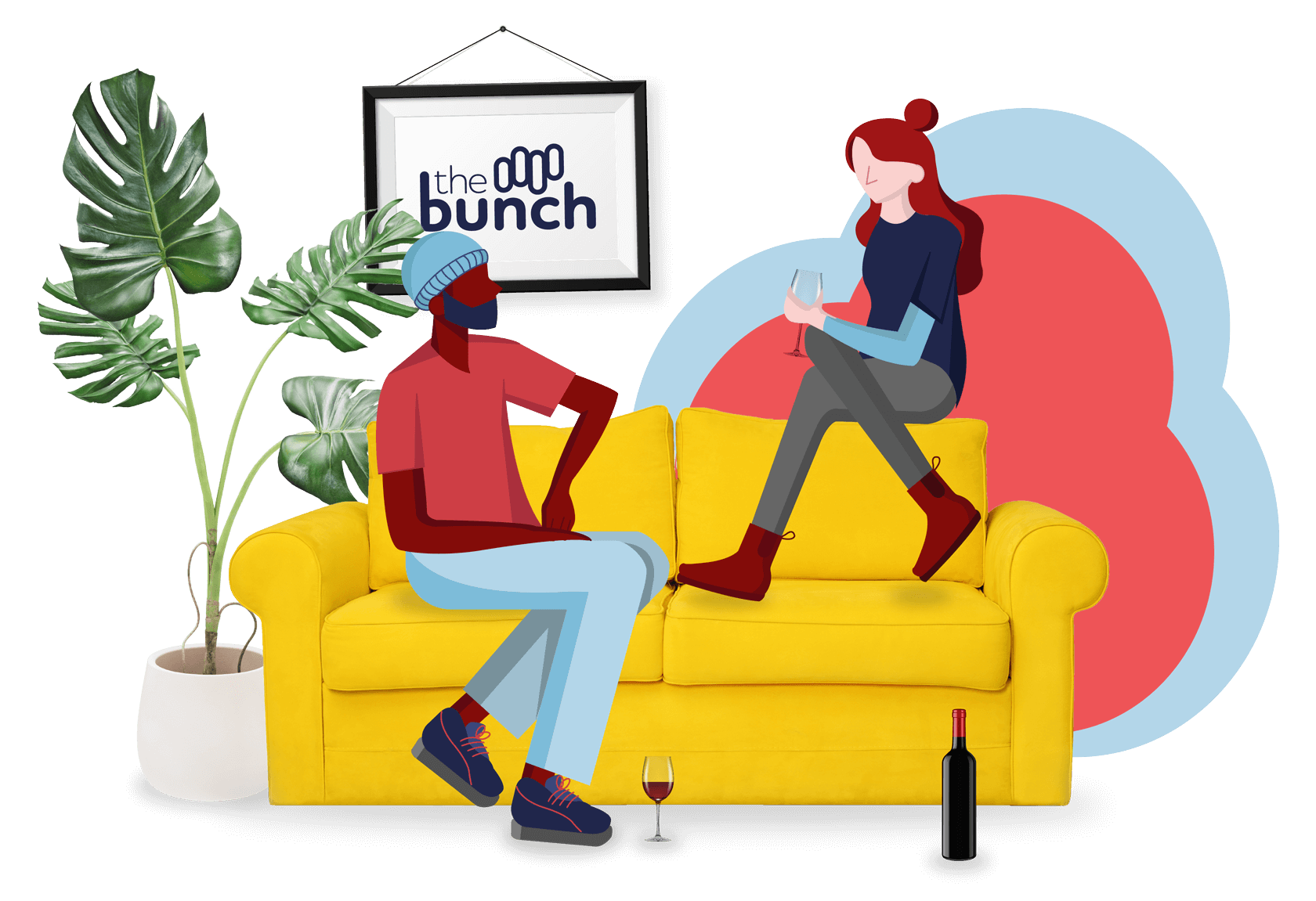 Illustration of two people chatting on a sofa